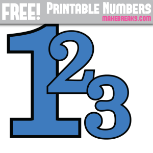 Blue With Black Edge Printable Numbers 0 – 9