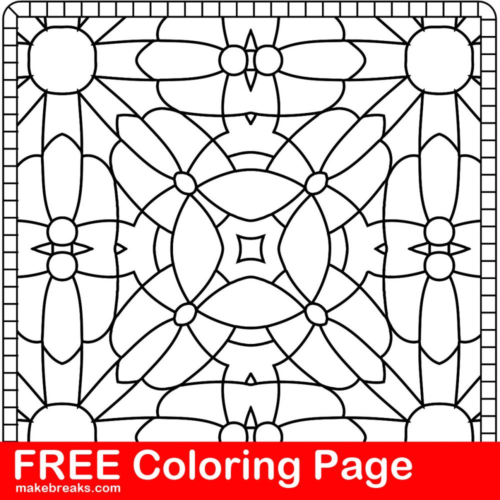 Free Coloring Page – Pattern Tile 3