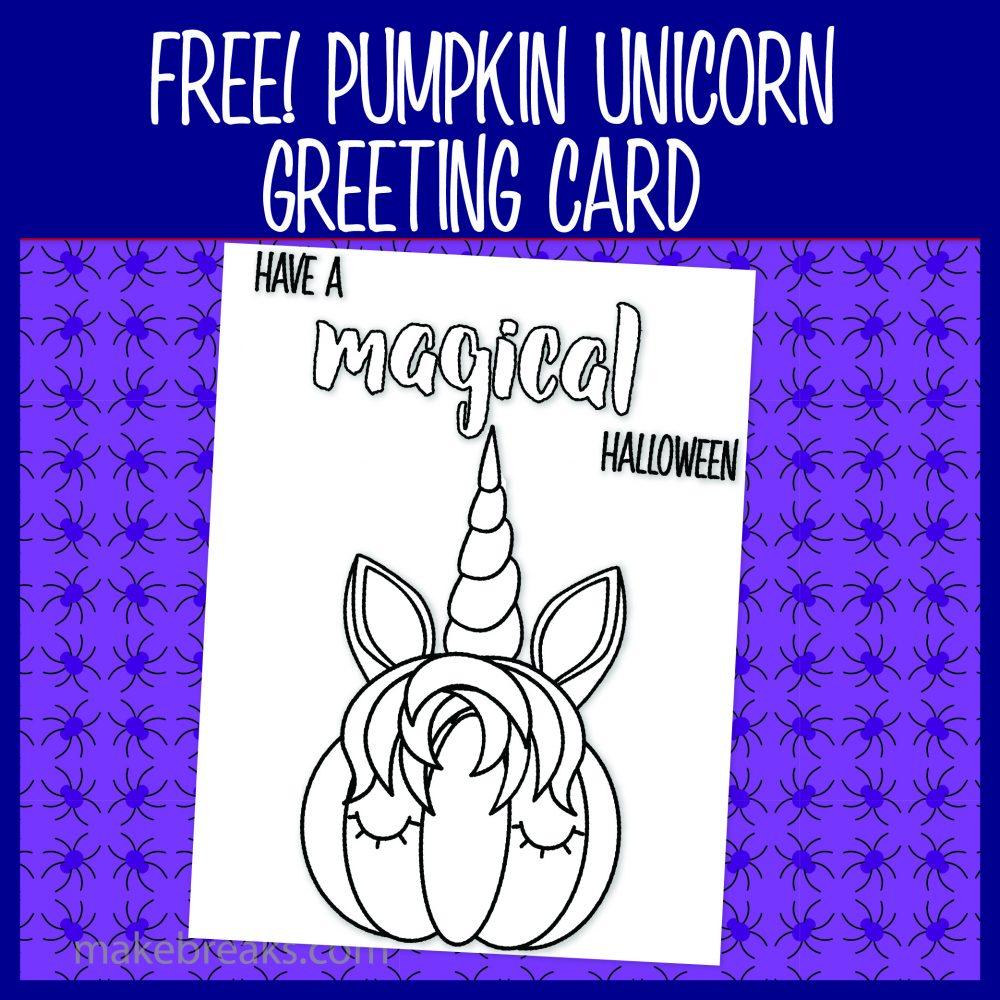 Black and white unicorn pumpkin coloring card for Halloween