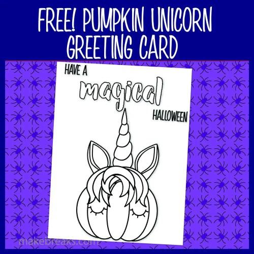 Unicorn Pumpkin Coloring Card