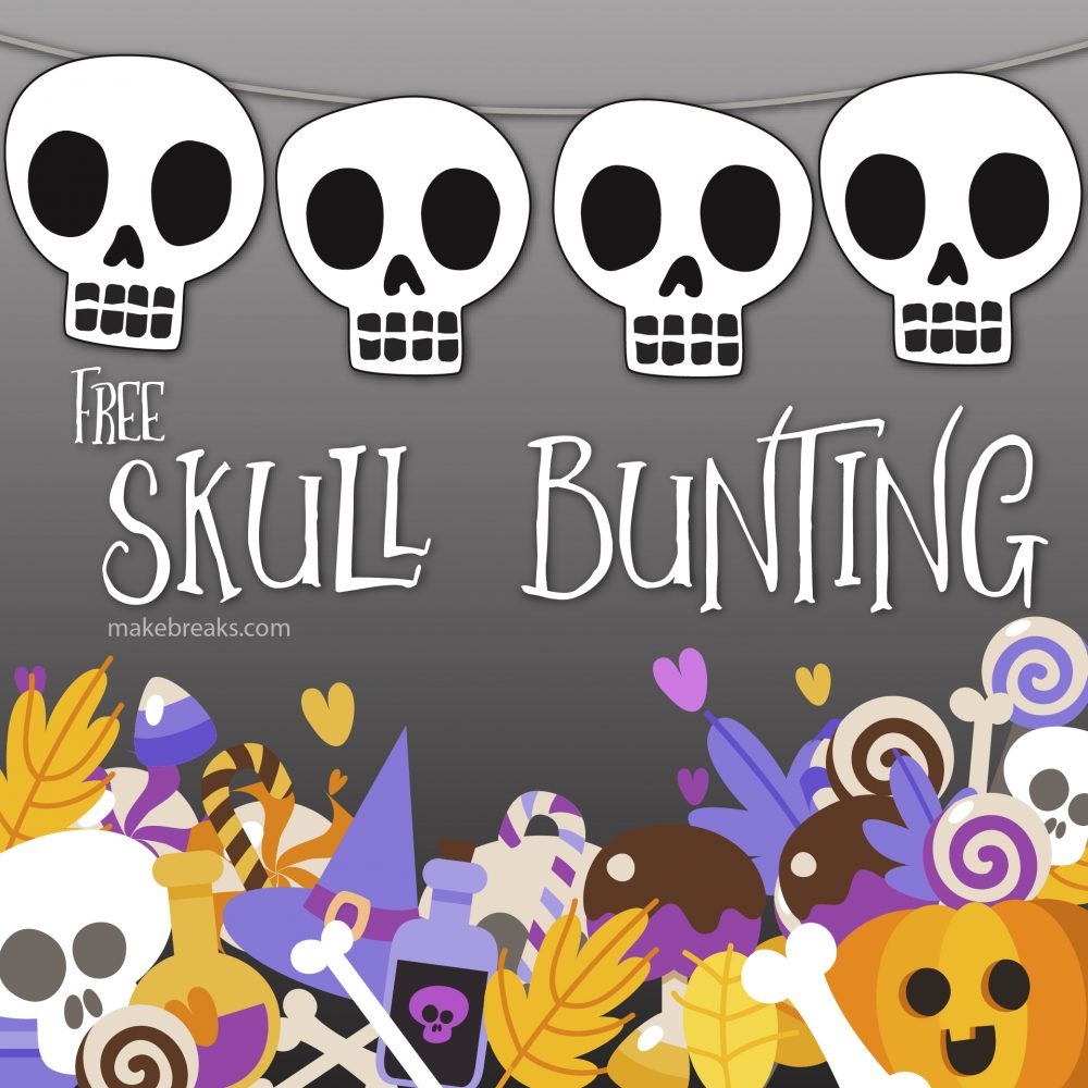 Free Halloween Funny Skull Bunting Template