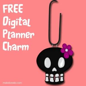 Free Cute Skull Halloween Digital Planner Paperclip Charm