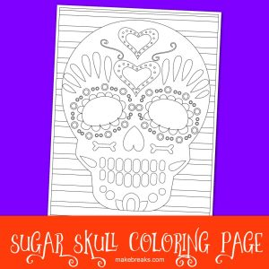 Free Sugar Skull Halloween Day of the Dead Coloring Page