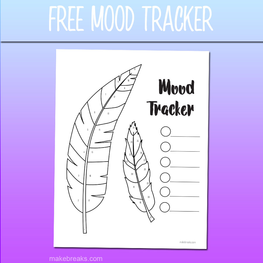 image about Printable Mood Tracker known as No cost Undated Feather Cost-free Temper Tracker Monitoring Website page - Crank out