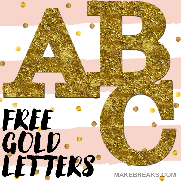 Free gold foil effect letters to print
