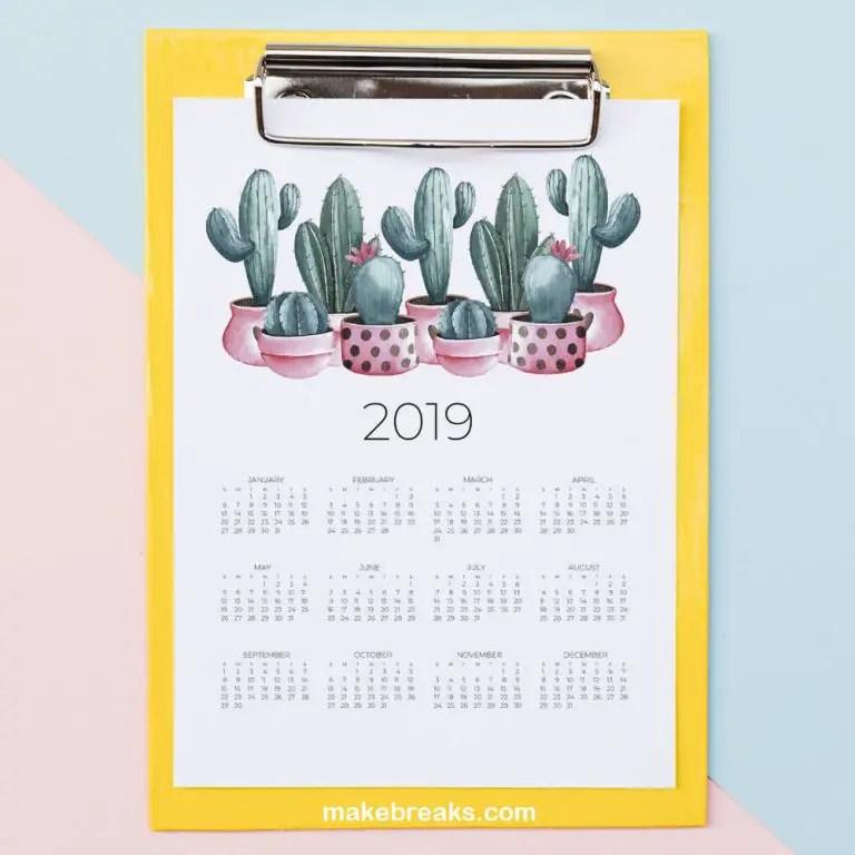 Free 2019 Cactus Calendar – One Page