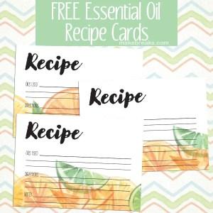 Free Essential Oils Recipe Cards – Citrus Design