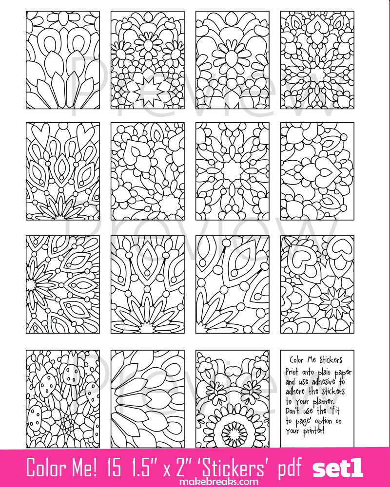 Coloring Page Planner Stickers Set 1