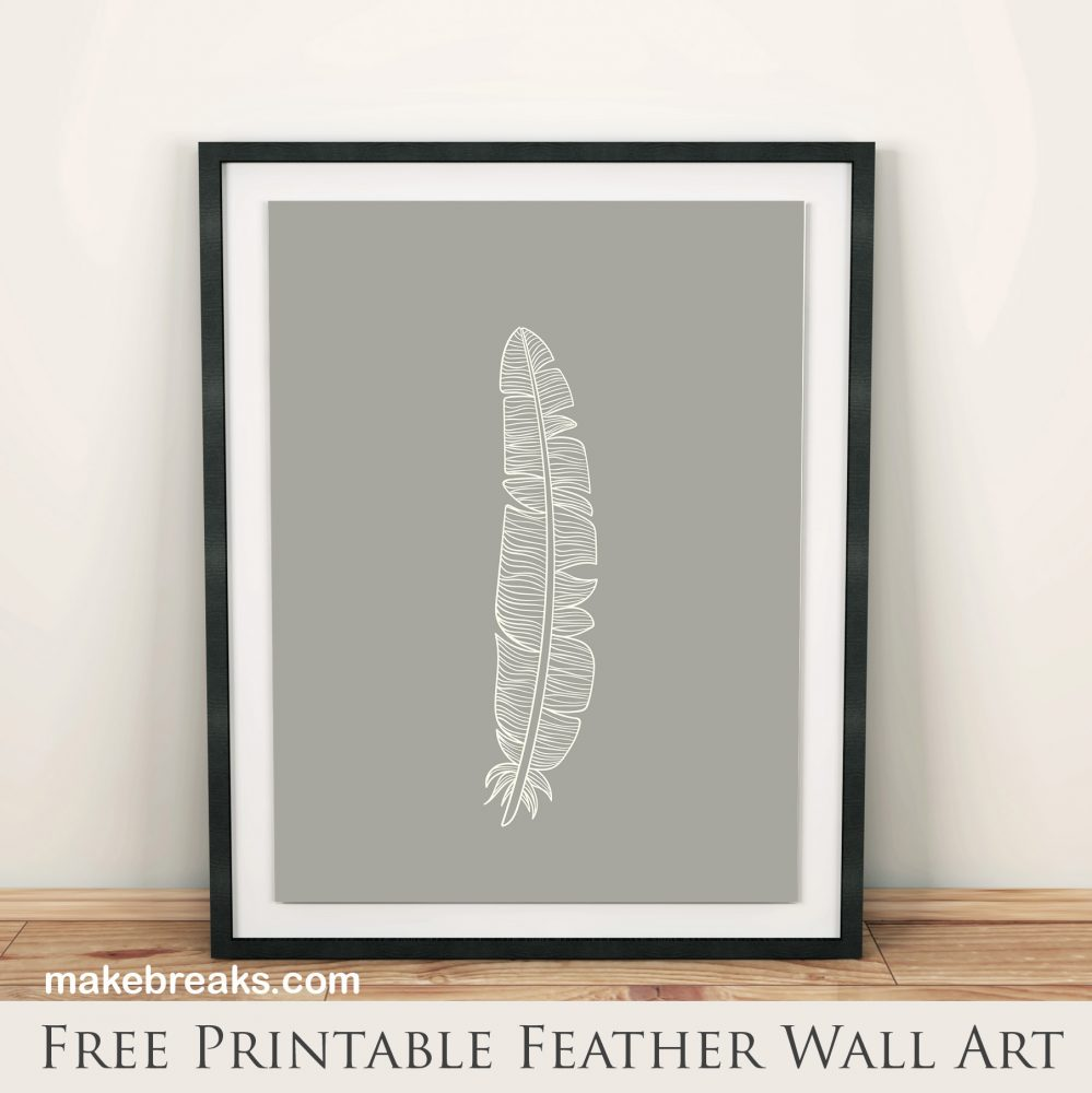 Free Printable Wall Art – Grey and White Feather