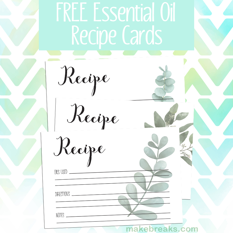 Free essential oil recipe cards with modern contemporary eucalyptus design