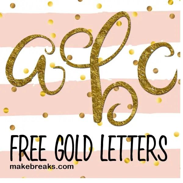 Gold Foil Style Free Printable Letters - Lower Case Script ...