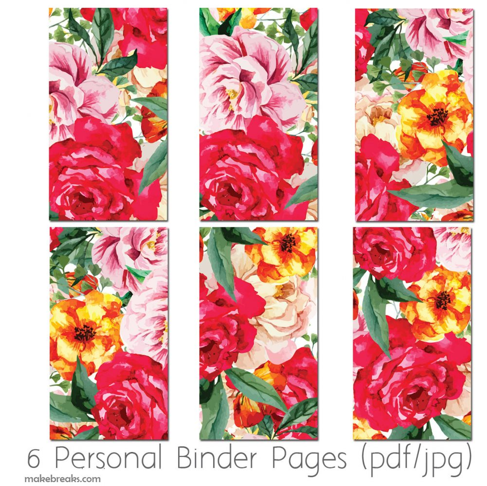Free Personal Size Planner Dividers With Red Floral Design