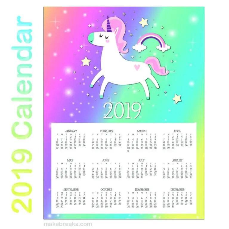 Free 2019 Unicorn Calendar 2