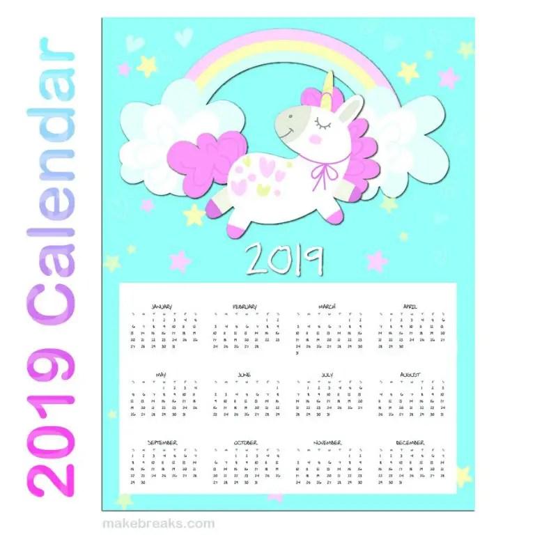 Free One Page Unicorn Calendar to Print
