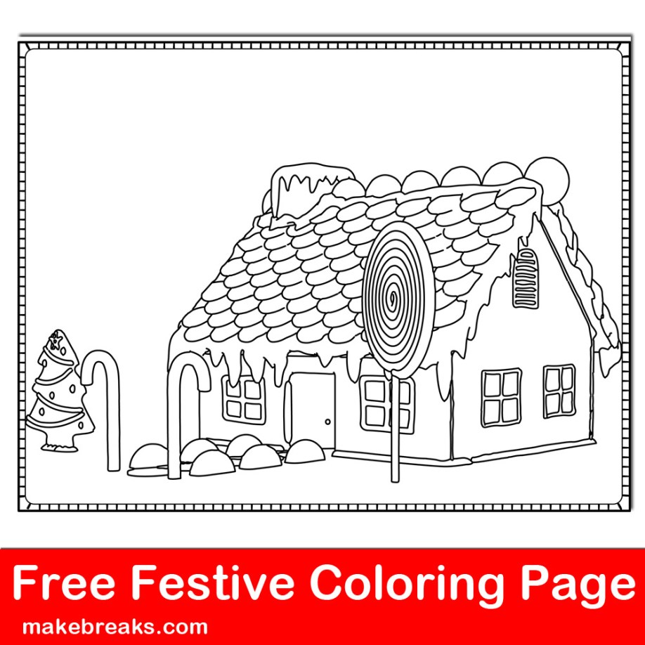 Gingerbread House Coloring Page 2