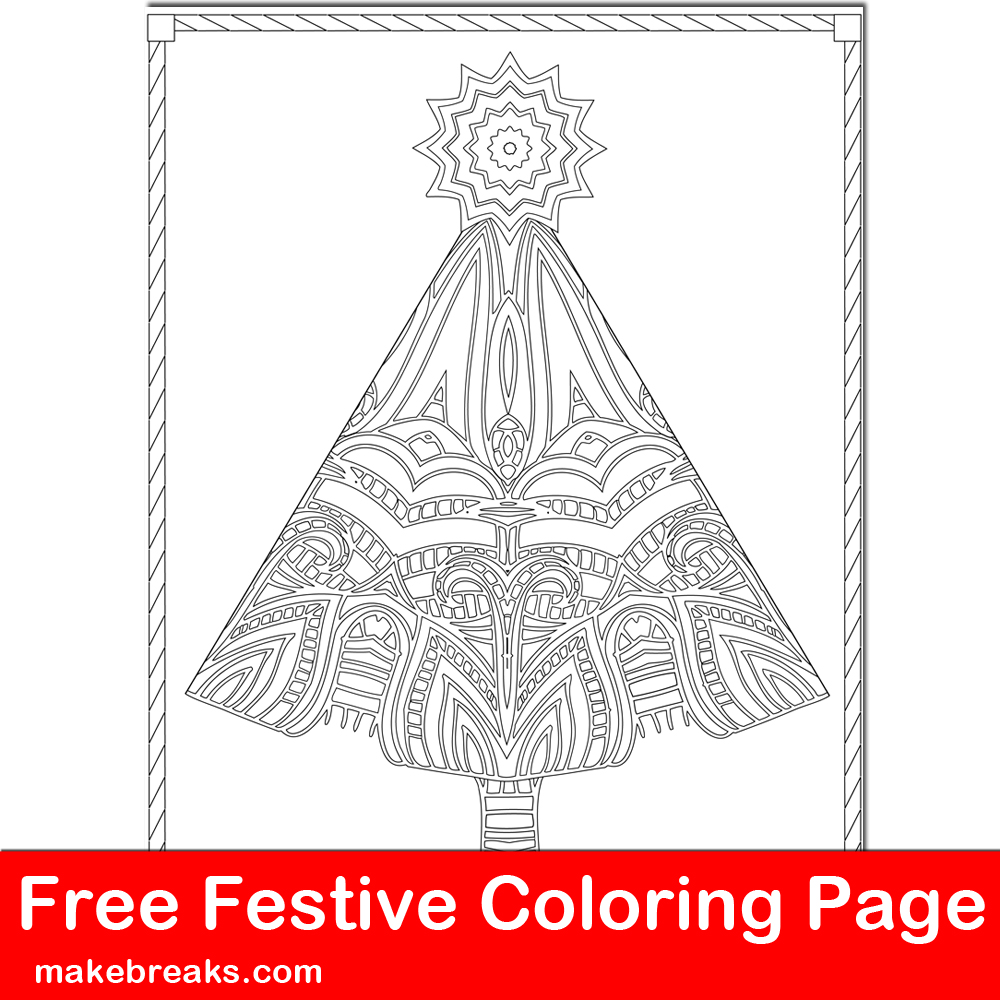 Intricate Christmas tree free coloring page to download