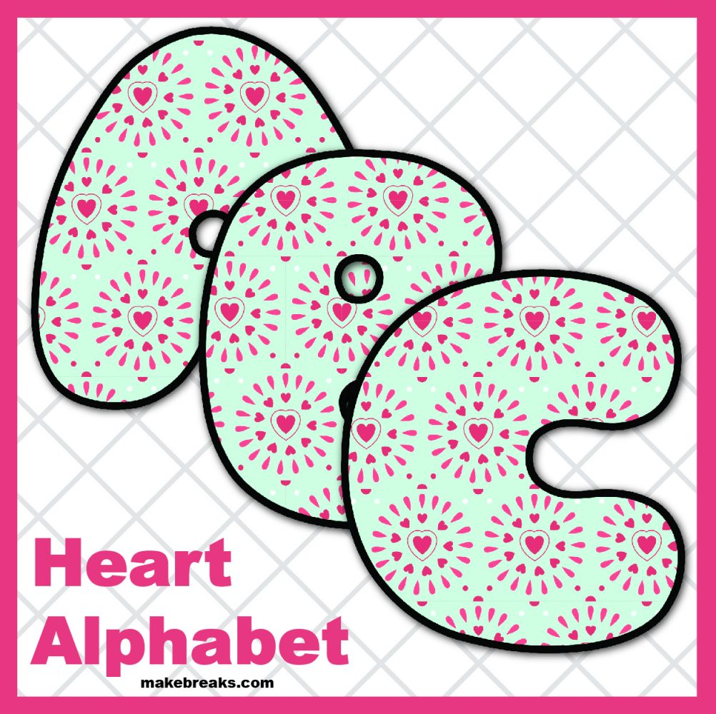 Free Printable Alphabet for Valentine's Day- Pattern 3