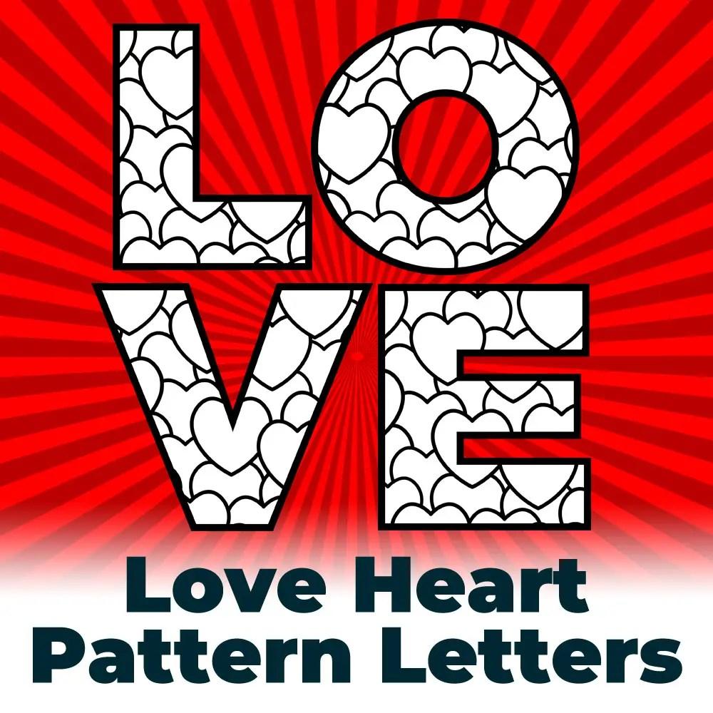 Free Love Hearts Pattern Letters