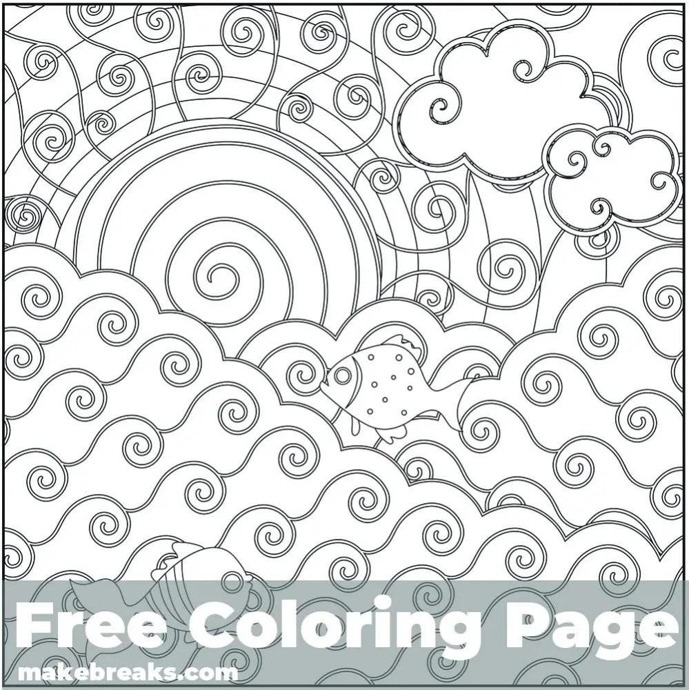 Sun Sea Coloring Page