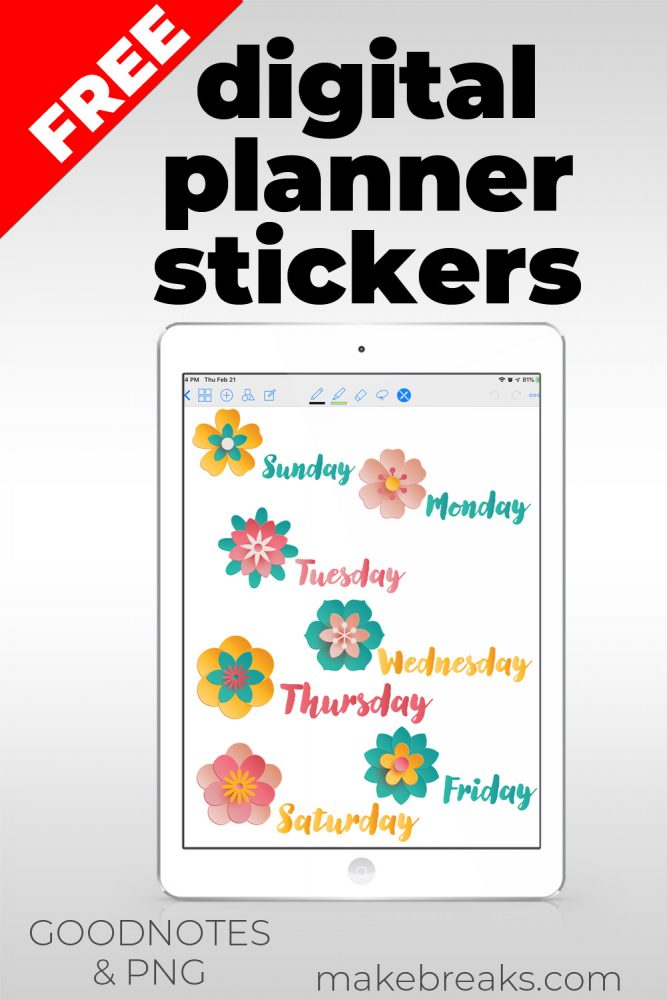 Free Digital Stickers for Goodnotes – Flower Days