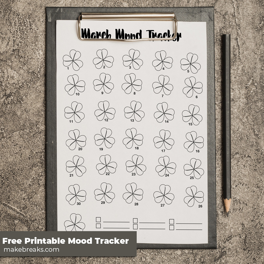 Free Printable March Mood Tracker