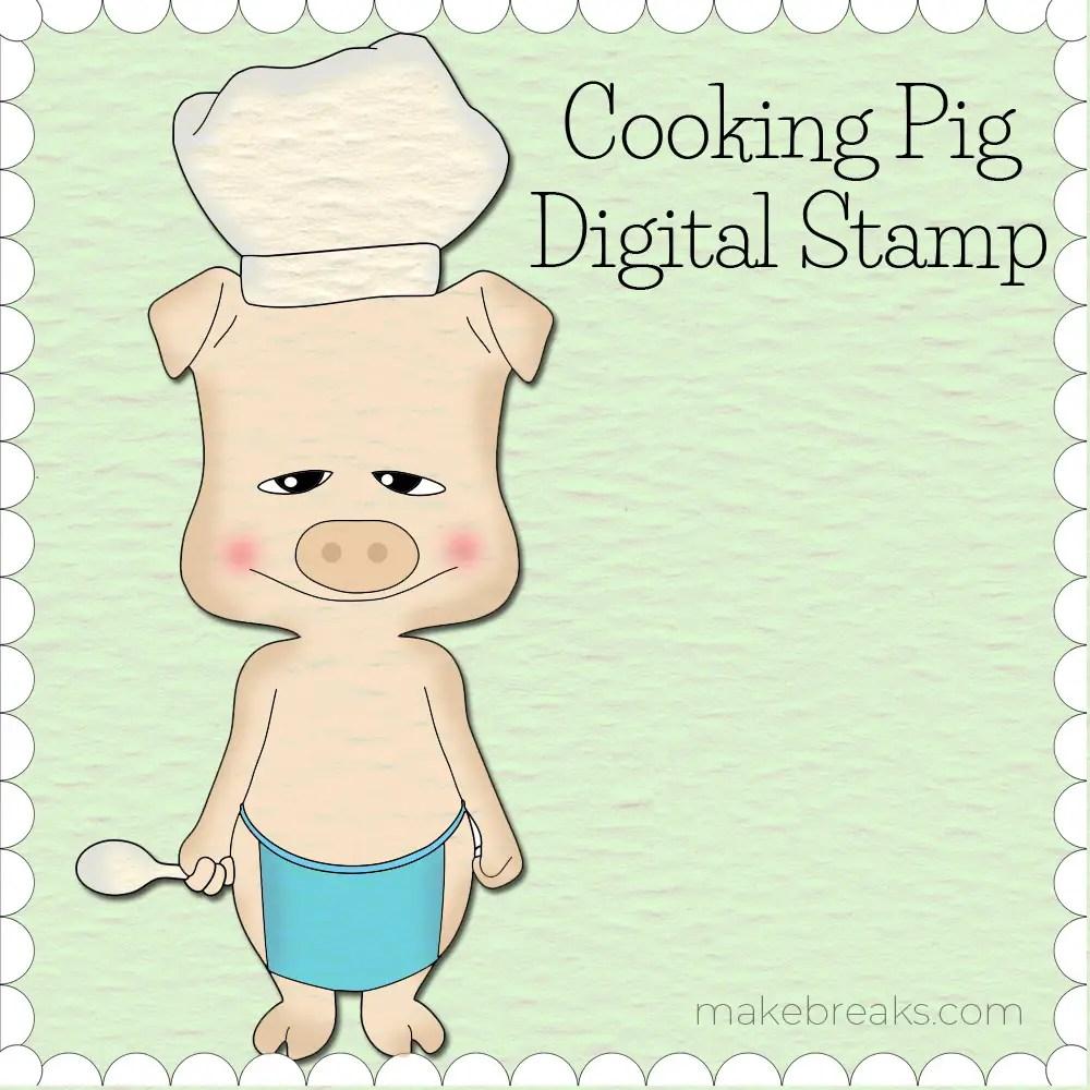 Free Digital Stamp – Cooking Pig