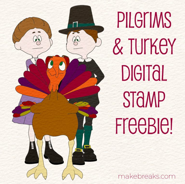 Pilgrim and turkey digital stamp