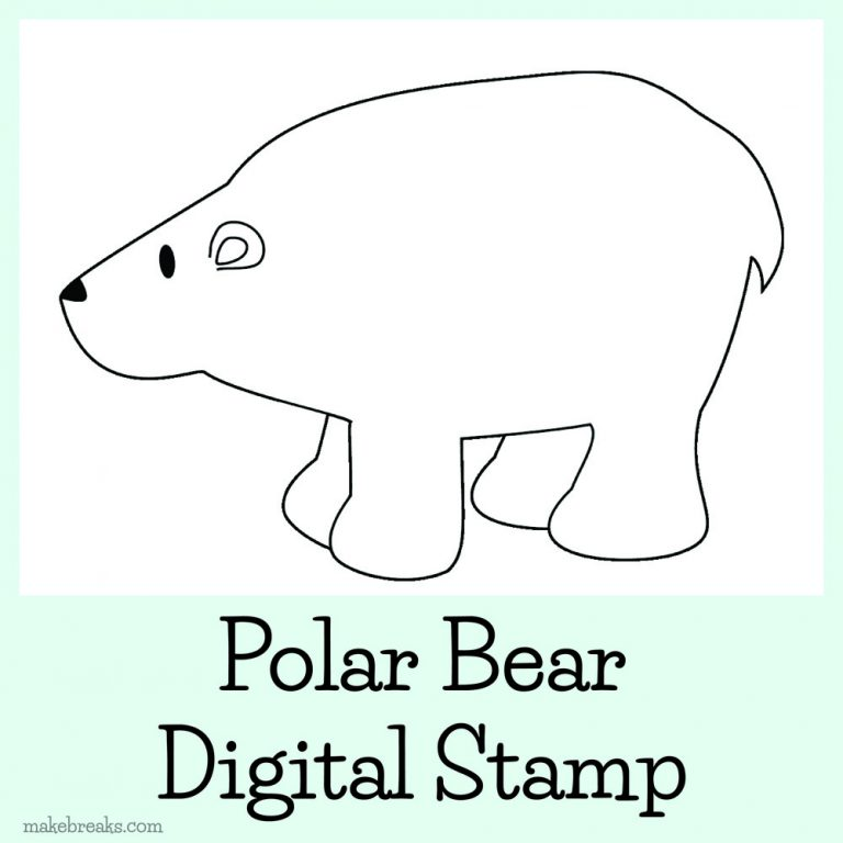 Polar bear digital stamp