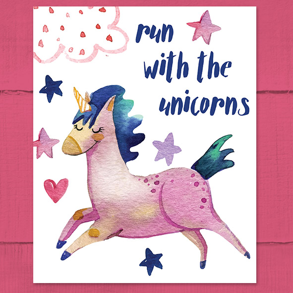 Free Printable Run With Unicorns Poster