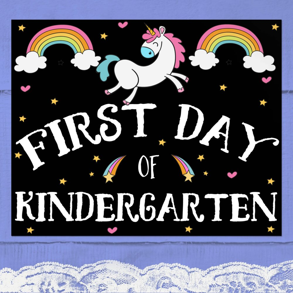Free Printable Unicorn First Day at Kindergarten Poster