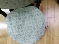 I laid the new fabric on top and decided to jump in and try to do the deep button tufting.