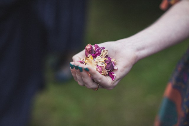 A beautiful shot of Lori's (Lori and the Caravan) hand with homemade confetti