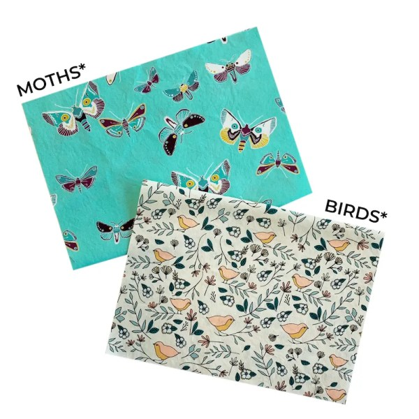 bird and moth mask fabric