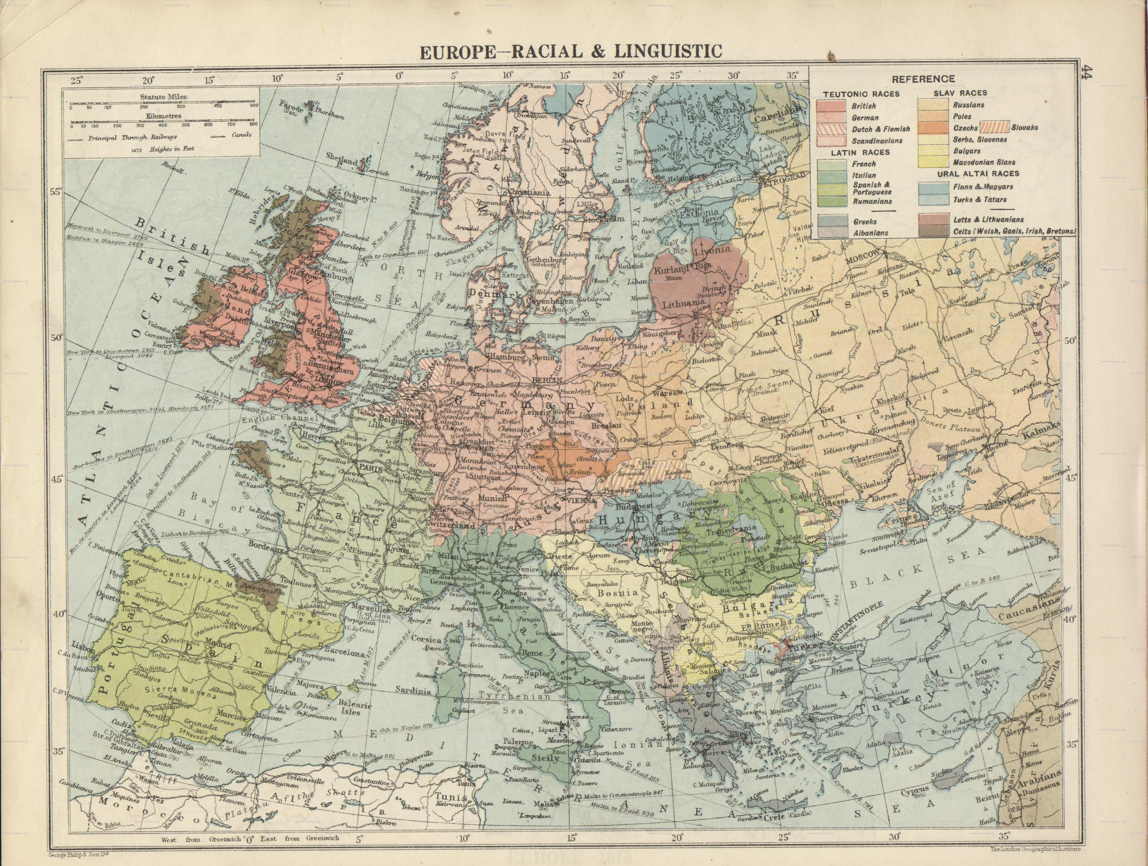Macedonians noted on a racial and linguistic map of Europe  1920     Published