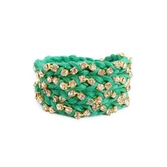 comprar online pulsera trenzada con cristales verde