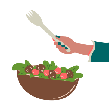 Bowl of salad with hand with fork
