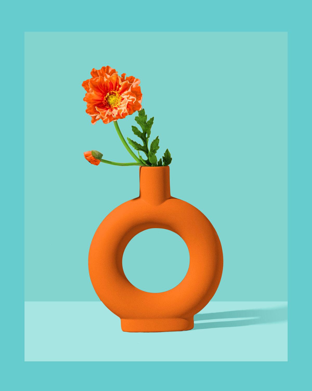 Etsy Shop Product Photography Orange Vase with single flower