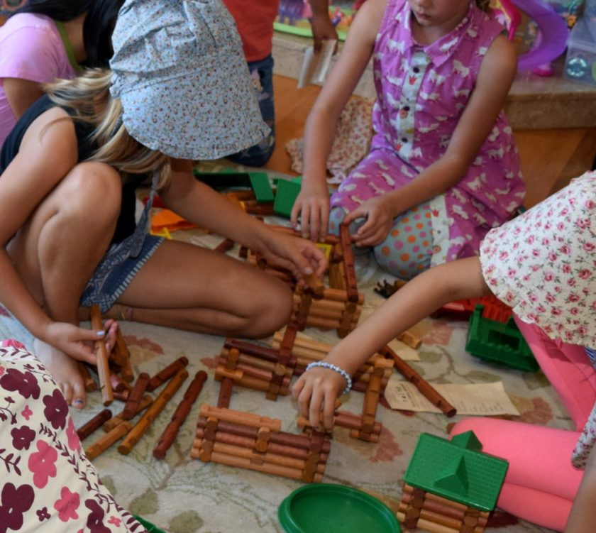 Building Log Cabins with Lincoln Logs. Little House on the Prairie Party Ideas and Activities - MakeHardware.com