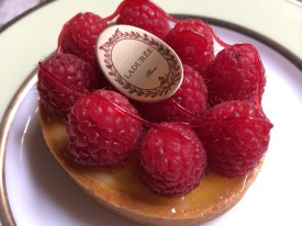 A passionfruit-curd filled tart with raspberries from Laduree. It may not look all that special, but it sure was.
