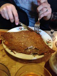 First meal in Paris: Crêperie Josselin. Once again, we chose a highly rated stop along a street of at least twelve crêperies. The crepes were unbelievable. To drink, they serve hard cider in mini pitchers.