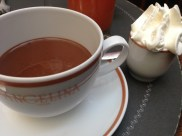 The best hot chocolate in Paris is at Angelina's. It couldn't get much richer! Oh, and it was served with pastries and bread and butter.