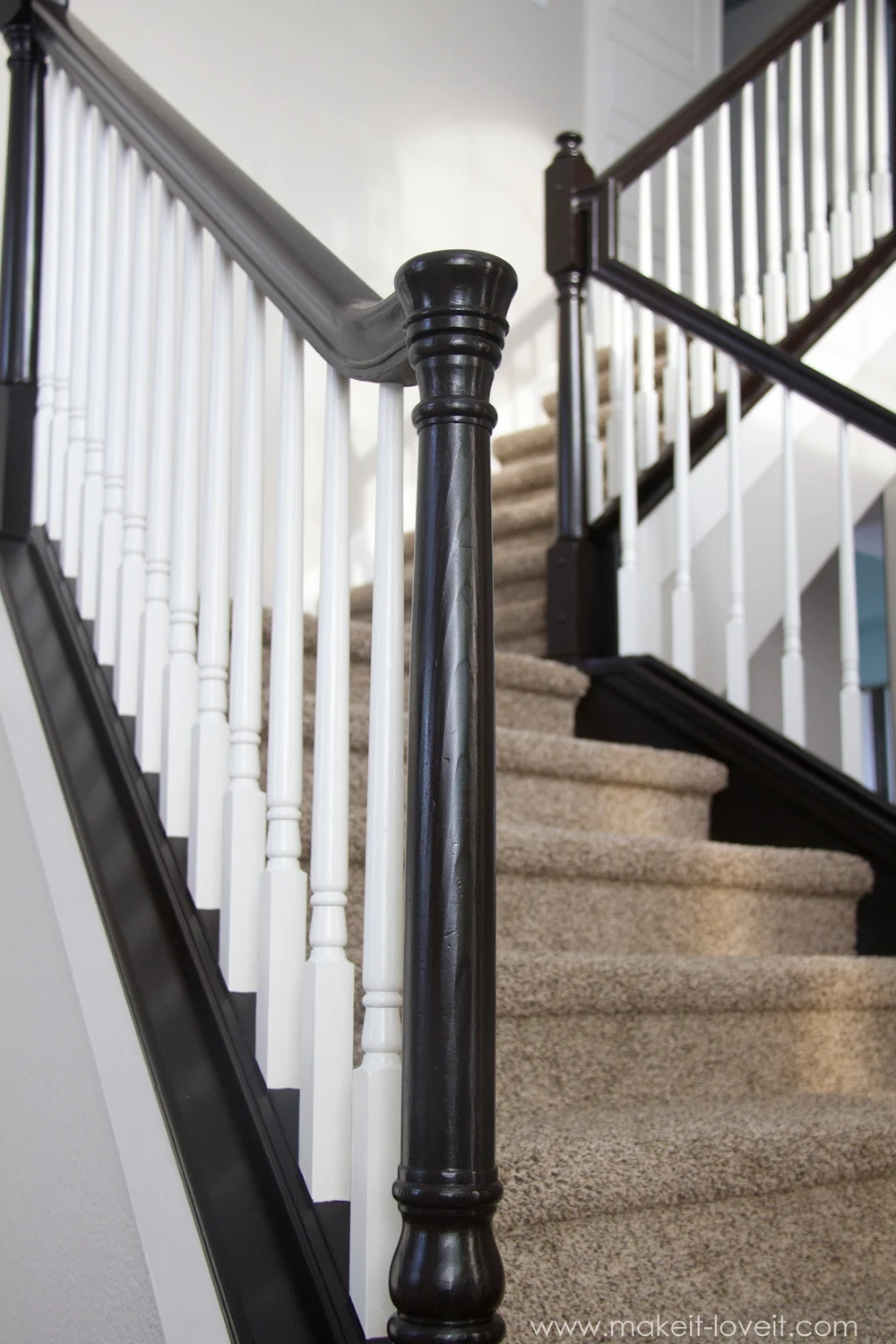How To Paint Stain Wood Stair Railings Oak Banisters Spindles | Black Banister White Spindles | Black Railing | Funky | Victorian | Iron Spindle White Catwalk Brown Railing | White Mahogany Hand Rail Oak