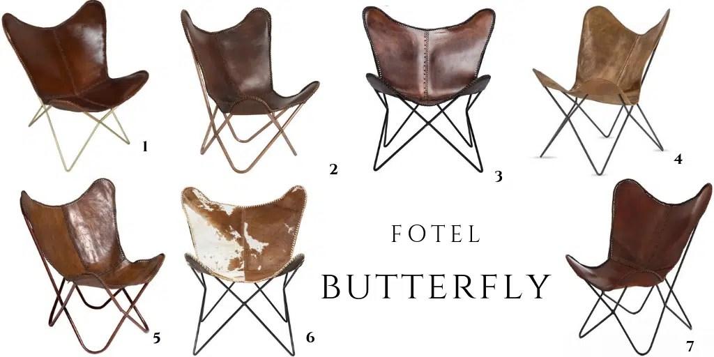krzesło butterfly z brązowej skóry