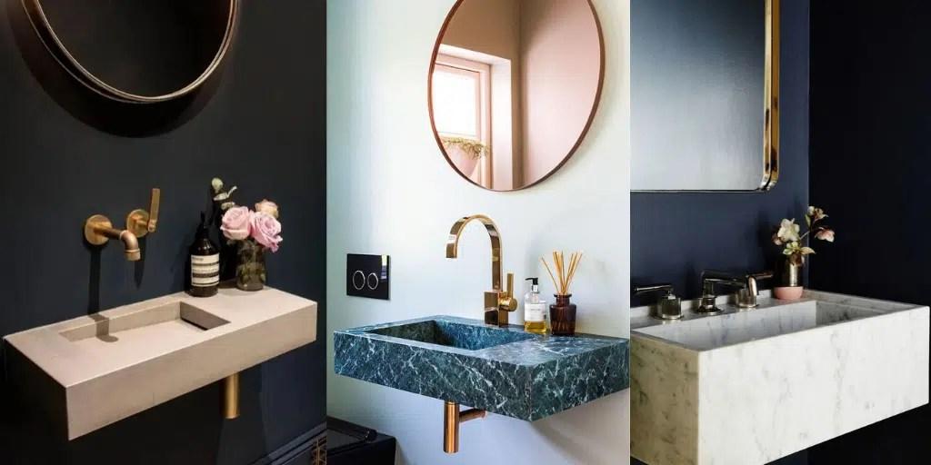 umywalka wisząca do toalety z imitacji kamienia
