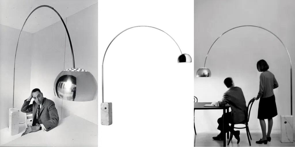 Achille Castiglioni Pier Giacomo włoska ikona designu lampa arco