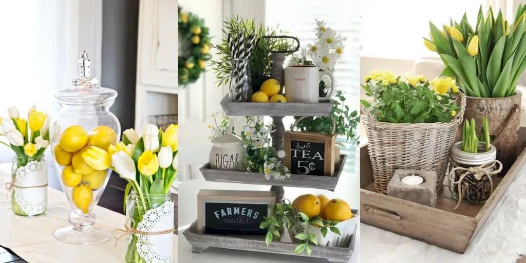 żółte kwiaty w domu dekoracje z cytryn na wiosnę owoce w szkle