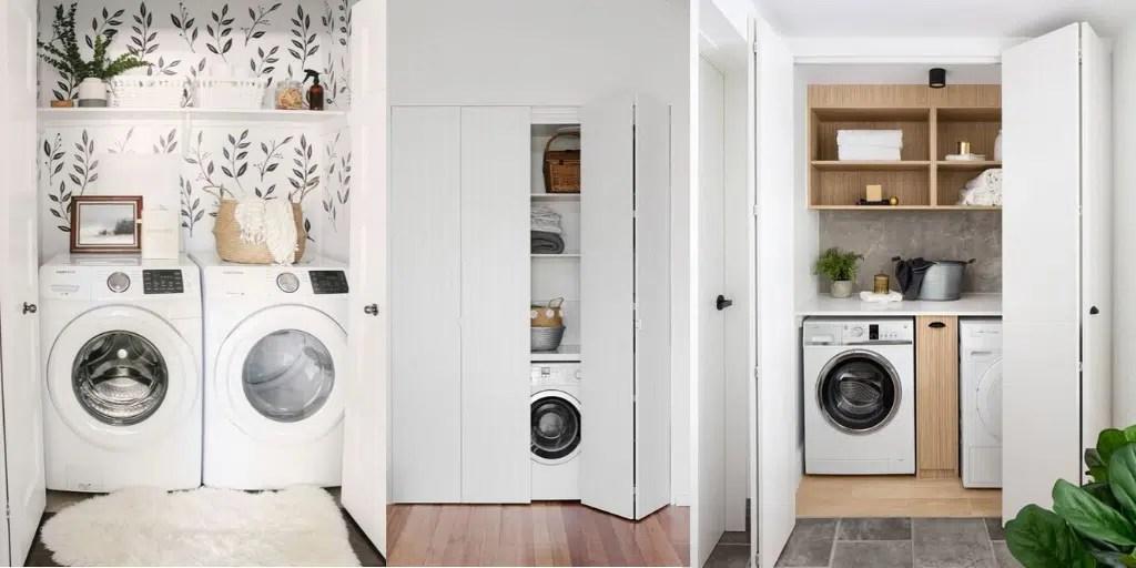 mała pralnia schowana we wnęce ukryta