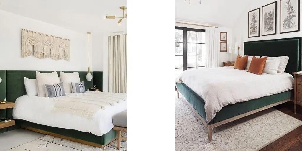 sypialnia z łóżkiem tapicerowanym w  kolorze zielonym białe ściany