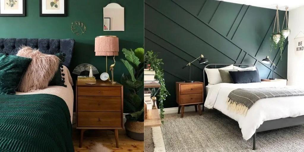 ciemna zielona ściana butelkowa zieleń sztukateria za łóżkiem