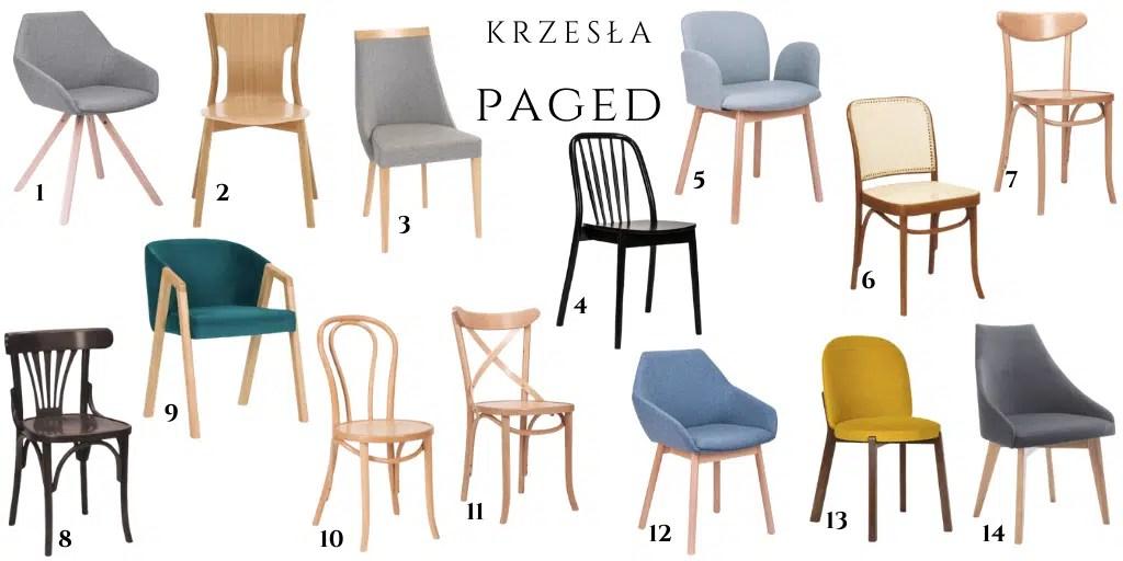 PAGED krzesło do stołu z drewna tapicerowane fotel